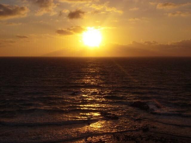 夕闇と夕陽