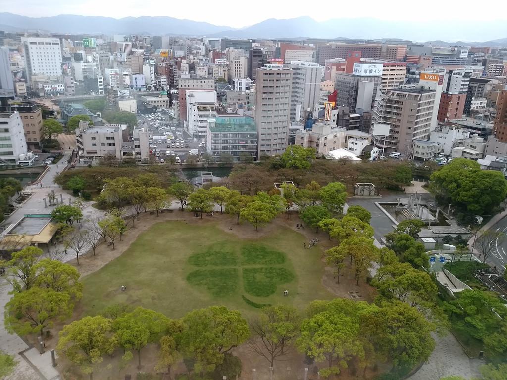 福岡市役所から見た博多区の街並み